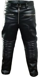 Mens Real Leather Bikers Jeans Black Padded Design Motorcycle Pants Trouser