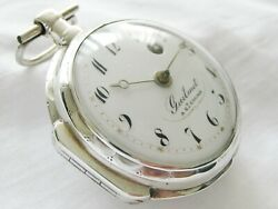 Rare, Silver French Verge Fusee Pocket Watch Guilmet A St Calais, Near Mint, Top
