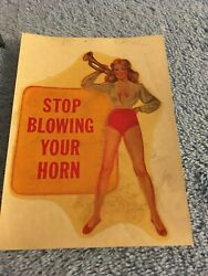 Original Vintage Travel Decal Pinup Hot Rod Horn Rat Old Risque Glamour Girl