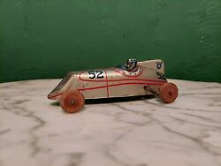 Vintage Marx / Chein Tin Litho V8 Race Car 52 Windup Driver And Wood Wheels