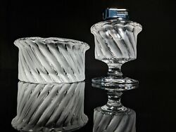 Lalique Smyrne Ashtray , Match Holder And Table Lighter Trio