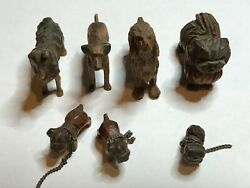 7 Vintage Miniature Dogs all hand carved wood