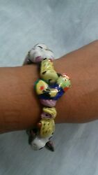 Stunning Vintage Chinese Pottery Painted Animals Stretched Bracelet