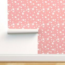Removable Water Activated Wallpaper Pink Star Nursery Stars Baby Girl
