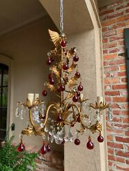 Antique French Crystal Prism Chandelier Murano Glass Red Drop Gold Gilt 4 Arm