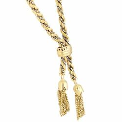 14carat Yellow And White Gold 22.25 Box And Rope Woven Lariat 4mm Wide