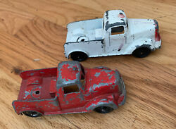 1950's Tootsie Toy Tow Trucks Lot Of 2 Die Cast Metal 5 Long White And Red