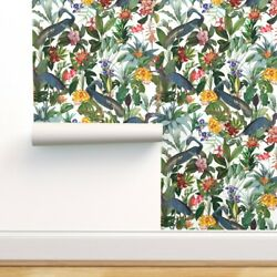 Removable Water-activated Wallpaper Tropical Birds Flower Jungle Blue Heron