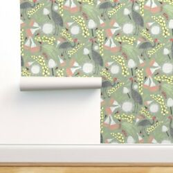 Removable Water-activated Wallpaper Australian Flora Heron Flowers And Leaves