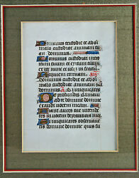 Medieval Illuminated Manuscript Page Framed With Glass On Both Sides
