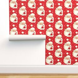 Wallpaper Roll Vintage Santa Kitschy Holiday Christmas Claus Kitsch 24in X 27ft