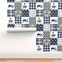 Wallpaper Roll Cheater Farm Patchwork Plaid Grey Baby Boy Tractor 24in X 27ft