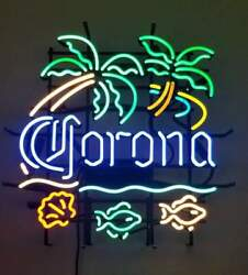New Corona Beer Fish Palm Tree Neon Light Sign 24x20 Lamp Poster Real Glass