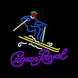 New Crown Royal Snowboard Neon Light Sign 24x20 Lamp Poster Real Glass