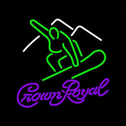 New Crown Royal Surfboard Neon Light Sign 24x20 Lamp Poster Real Glass