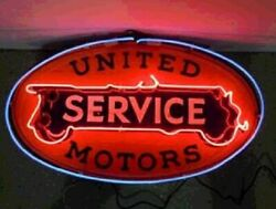 New United Motors Service Neon Light Sign 24x20 Lamp Poster Real Glass