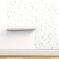 Wallpaper Roll Zodiac White And Gold Baby Nursery Stars 24in x 27ft