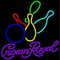 New Crown Royal Colored Bowling Neon Sign 20x16 Lamp Lighting Decor Glass