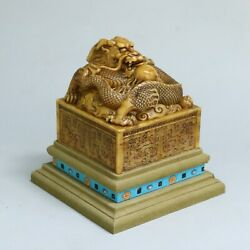 Chinese Exquisite Handmade Dragon Carving Shoushan Stone Seal