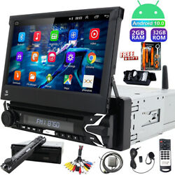 Android 10 Single Din Car Stereo Touch Screen Radio Dvd Cd Gps Obd2 Aux Camera
