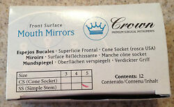 Front Surface Mouth Mirrors Simple Stem 05 Box /12 By Crown Made In Argentina