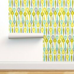 Peel-and-stick Removable Wallpaper Spoons Kitchen Cooking Silverware Retro