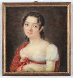 Balthasar Charles Larpenteur 1783-1843 Young Lady In Empire Dress Miniature