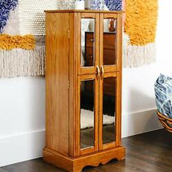 Hives And Honey Chelsea Mirrored Armoire Jewelry Cabinet Walnut
