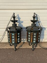 Pair Of Vintage Hanging Swag Pendant Lamps With Crystals Hollywood Regency Boho