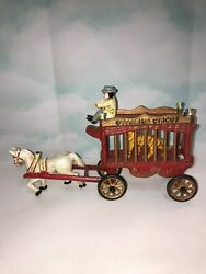 Vintage Cast Iron Overland Circus Tiger Cage Wagon Toy