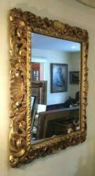 Antique 22k Hand Carved 5 3/4 Wide Pierced Baroque Frame Wall Mirror 23 X 30