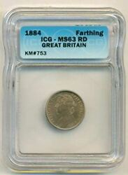Great Britain Queen Victoria 1884 Farthing Ms63 Red Icg