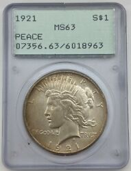 1921 High Relief Peace Dollar Pcgs Ms63 In Old Rattler Holder