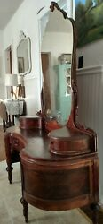 Vanity Dressing Table With Mirror 1800's Victorian Mehagony Finish Antique