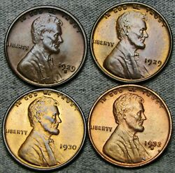 1929 1929-s 1930 1932-d Lincoln Cent Wheat Penny --- Gem Bu+ Condition --- R489