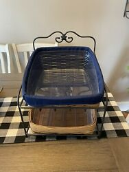 Longaberger Wrought Iron Large Paper Tray Stand And Baskets