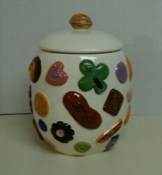 Large Vintage 'cookies All Over' Ceramic Cookie Jar With Walnut Lid Ex Auct6519