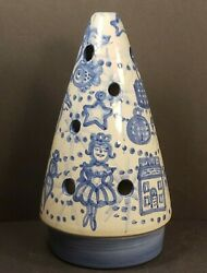 10 Vintage M A Hadley Ceramic Christmas Tree Candle Topper Blue And White