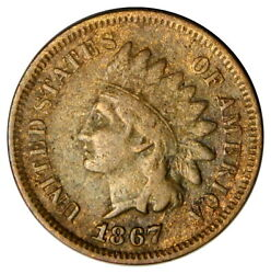 1867 Indian Head 1 Cent Penny F Fine Priced Right Inv6