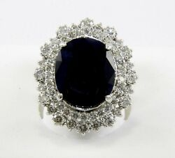 Natural Oval Blue Sapphire And Diamond Halo Solitaire Ring 14k White Gold 12.07ct