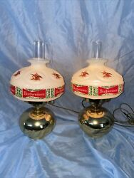 Matching Pair Of Budweiser King Of Beers Lighted Wall Sconce Lamps