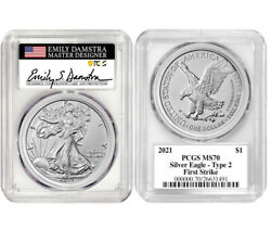 2021 Type 2 Silver Eagle Pcgs Ms70 Fs Signed By Ase Designer Emily Danstra