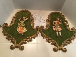 Vtg. Colonial 3d Man/woman Depose Italy 155 Hanging Green Velvet Empire Plaques