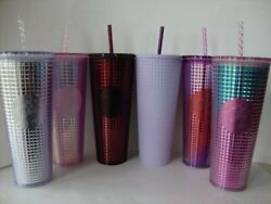 Starbucks 2020 And 2021 Grid Studded Cold Cup Tumbler Purple Pink Silver Lilac