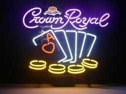 New Crown Royal Casino Cards Poker Man Cave Neon Sign 32x24 Beer Lamp Light