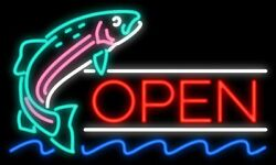 New Open Jumping Fish Man Cave Real Glass Neon Sign 32x24 Beer Lamp Light