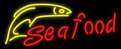 New Seafood Fish Artwork Real Glass Neon Sign 32x20 Beer Lamp Light