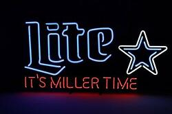 New Itand039s Miller Time Dallas Cowboys Miller Lite Neon Sign 32x24 Beer Lamp Ligh