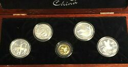 Rare Animals Of China 5 Coin Set, Silver And Gold Coins, Limited Edition Of 750