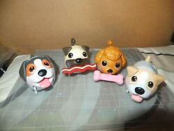 Lot Of 4 Spin Master Chubby Puppies Pink Poodle Pug Dog Walking Dogs